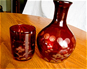 Bohemian Ruby Glass Tumble Up Set
