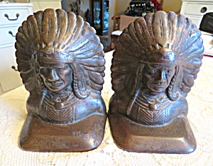 Antique Sachem Native American Bookends