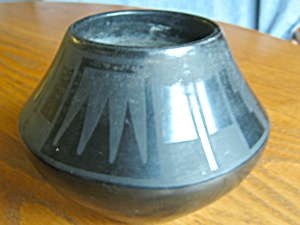 Santa Clara Black Pottery Vase Signed