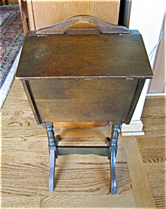 Vintage Wood Sewing Cabinet & Notions (Image1)