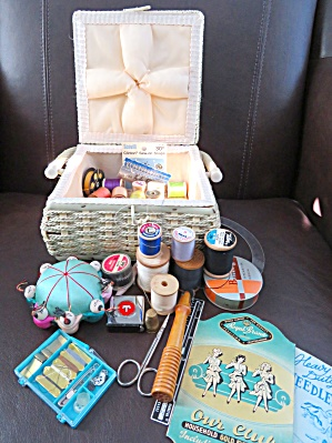 Sewing Basket W/notions Vintage