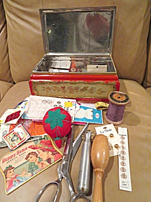 Hiller's Tin Box W/sewing Notions