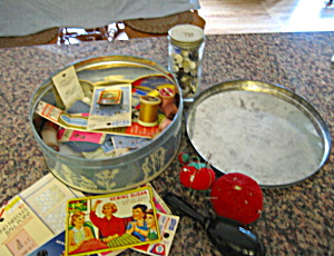Vintage Sewing Notions And Tin Box
