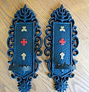 Sexton Vintage Metal Candle Sconces (Image1)