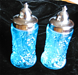 Vintage Blue Glass Shakers (Image1)