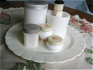 Milk Glass Shaving Accessories
