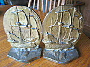 Iron Ship Of Dreams Bookends Antique