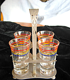 Vintage Shot Glasses and Stand (Image1)