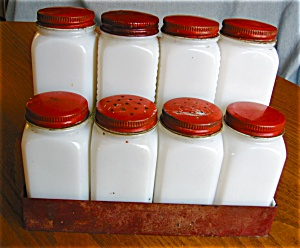 Vintage Griffith's Milk Glass Spice Jars (Image1)