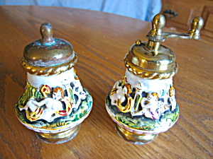 Vintage Capodimonte Spice Grater And Shaker