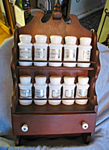 Vintage Wood Rack and Spice Jars (Image1)