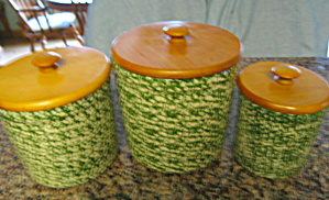 Green Spongeware Kitchen Crocks (Image1)
