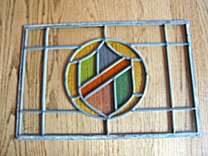 Vintage Stained Glass Shield Panel