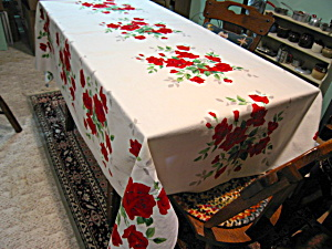Vintage Wilendur Red Rose Tablecloth