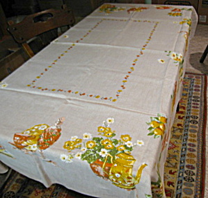 Vintage Linen Kitchen Tablecloth  (Image1)