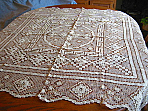 Great Filet Lace Vintage Tablecloth (Image1)