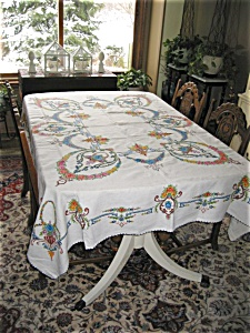 Embroidered Linen Tablecloth w/Napkins (Image1)