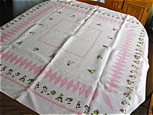 Vintage Linen Kitchen Pink Roses Tablecloth (Image1)