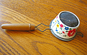 Miracle Gem Painted Tin Strainer Vintage