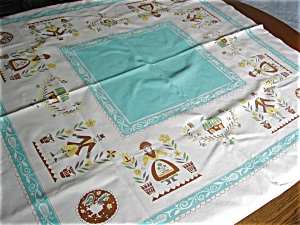 Vintage Cotton Aqua Square Tablecloth (Image1)