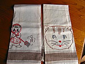Vintage Embroidered Linen Cat Towels (Image1)