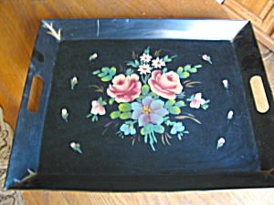 Hand Painted Metal Tray Vintage