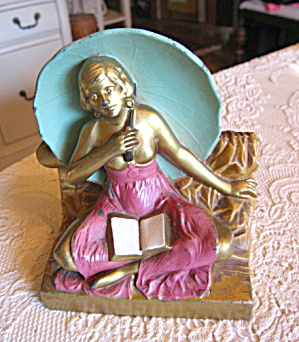 Polychrome Umbrella Girl Bookend