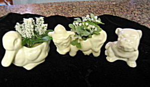 Small White Vintage Animal Planters