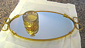 Oval Vintage Vanity Tray And Footed Box