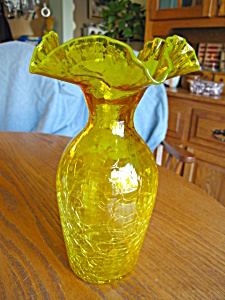 Blown Crackle Glass Vase Large