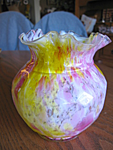Spatterware Vintage Art Glass Vase