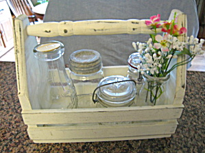 Vintage Bottles W/wood Carrier