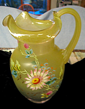 Enameled Satin Victorian Glass Pitcher