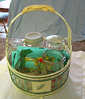 Vintage Bottles W/basket