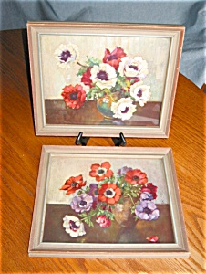 Two Vintage Floral Poppy Prints