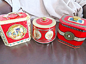 Red Vintage Tin Trio