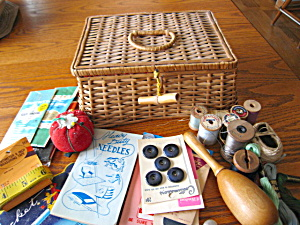 Vintage Sewing Basket W/notions