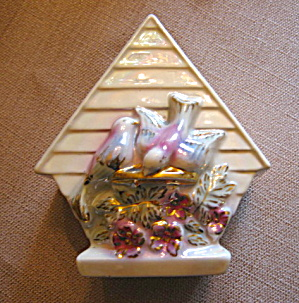 Gold Accent Vintage Birdhouse Wallpocket  (Image1)