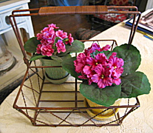 Wire Carrier & Planter Pots Vintage