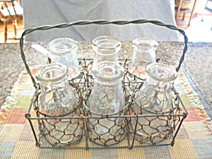 Antique Wire Carrier & Milk Bottles (Image1)