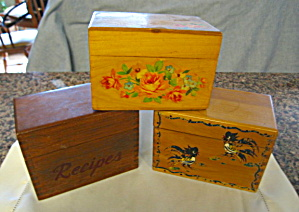 Vintage Wood Recipe Boxes