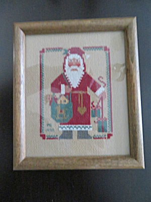 Signed Needlepoint Santa Picture