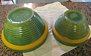 Antique Yellow Ware Ribbed Bowls