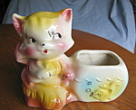 Click here to enlarge image and see more about item ambis9308: Vintage American Bisque Cat and Goldfish Planter