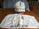 Click here to enlarge image and see more about item apron91006a: Embroidered Apron and Cap Vintage