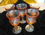 Click here to enlarge image and see more about item arcoroc080711: Pink Swirl Large Stemware