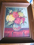 Click here to enlarge image and see more about item art101308: Vintage Signed Floral Oil Painting