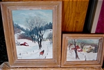 Click here to enlarge image and see more about item art120411: Winter in Vermont Landscape Paintings - Listed Artist