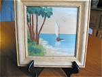 Artist Signed Miniature Ocean Scene Oil Painting