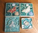 Click here to enlarge image and see more about item arttiles080810: Signed Art Pottery Tiles Group